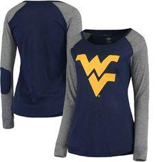 West Virginia Mountaineers Women's Preppy Elbow Patch Slub Long Sleeve T-Shirt - Navy/Gray - $23.99