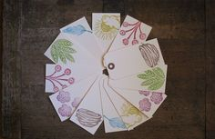 Hand Stamped Nature Gift Tags No. 2 Set of 12 by jessnielsen, $6.00