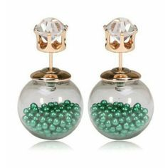 """Double Sided Earrings Green Beads Double Sided Earrings Prices:  (Prices are firm, ALL offers will be declined)   1 Pair $9.00 2-4 Pairs 10% Off  5-7 Pairs 15% Off  8+ Pairs 25% Off   Add the earrings to a bundle. Tag me and LMK how many you are buying and I will change my """"Seller Discount"""" Jewelry Earrings"""