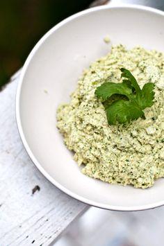 Raw, Vegan and Gluten Free Cashew Dip ... Ingredients include: cashews, lemon juice & zest, cilantro, oregano, onion, garlic, almond milk, olive oil.