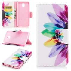 Printing Style PU Leather Flip Stand Phone Case for Samsung Galaxy / - Petals Pattern