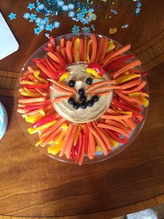 Lion veggie tray for our jungle baby shower