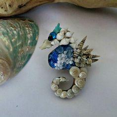 Blue and white seashell seahorse by CarmelasCoastalCraft on Etsy