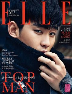 """Actor Kim Soo Hyun was named South Korea's """"Top Man"""" of the year by Elle magazine. Kim Soo Hyun modeled some of the latest winter fashion styles for men for the January issue of Elle. Asian Actors, Korean Actors, Shinee, My Love From Another Star, Jin Goo, Poster Boys, Hallyu Star, Elle Magazine, Magazine Covers"""