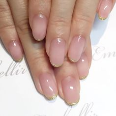 Bridal Nails for a minimalist bride, but I'd still add a little something more on the ring finger, even if it's just a gold dot or half moon at the nail bed Get Nails, Fancy Nails, Love Nails, Trendy Nails, Hair And Nails, Latest Nail Designs, Nail Art Designs, Bridal Nails, Perfect Nails