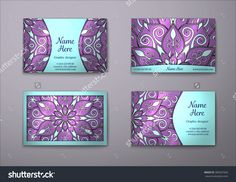 Vector Vintage Visiting Card Set. Floral Mandala Pattern And Ornaments. Oriental Design Layout. Islam, Arabic, Indian, Ottoman Motifs. Front Page And Back Page. - 389267569 : Shutterstock