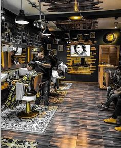 Top 80 Best Barber Shop Design Ideas - Manly Interior Decor - - Discover slick haircut and hairstyle vibes with the top 80 best barber shop design ideas. Modern Barber Shop, Best Barber Shop, Barber Shop Interior, Barber Shop Decor, Hair Salon Interior, Salon Interior Design, Salon Design, Interior Decorating, Studio Interior