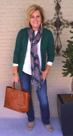 50 IS NOT OLD | WHAT TO WEAR ON THE WEEKEND | St. Patrick Day | Green | Cardigan and Jeans | Scarf accessory | Spring Transition Outfit | Fashion over 40 for the everyday woman