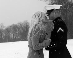 Military snow couple love black and white military couples outdoors winter trees snow Military Couples, Military Love, Army Love, Marine Love, Navy Wife, Navy Man, Military Girlfriend, Kodak Moment, Couple Photography