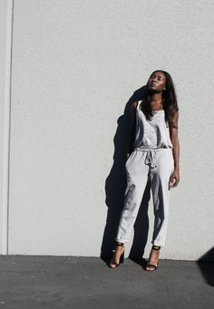 SEMI-CASUAL | GREY TROUSERS  Rocking the trousers more Carrie Bradshaw than severe librarian style. Click through to find out how!  #minimal #fashion #style #blogger #grey #trousers #heels #sandals #top #casual #chic #african #black #iman