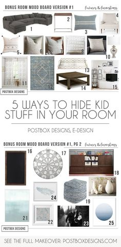 Postbox Designs Bonus Room Makeover: 5 Ways to Hide Kid Stuff Into Your Living Room Design (While Still Looking Beautiful), Neutral Traditional Living Room decor by Postbox Designs, Interior E-Design, Living Room Makeover via Online Interior Design Diy Living Room Decor, Living Room Decor Traditional, Living Room Designs, Traditional Interior, Living Rooms, Bonus Room Design, Family Room Design, Family Rooms, Diy Wand
