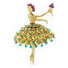 A Ruby & Turquoise 'Ballerina' Brooch, by Van Cleef & Arpels, circa 1940 (FD Gallery) A RETRO CITRINE AND DIAMOND BRACELET, BY CARTIER, CIRCA 1940