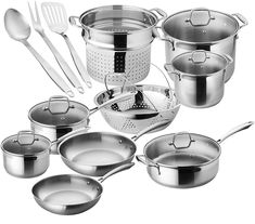 Chef's Star Premium Pots And Pans Set - 17 Piece Stainless Steel Induction Cookware Set - Oven Safe. Look no further than theChef's Star Professional Grade Stainless Steel 17 Piece Cookware Set. It has everything you need to satisfy the Chef inside you! Induction Stove, Induction Cookware, Cast Iron Cookware, Cookware Set, Casseroles, Safest Cookware, Stainless Steel Pot, Pots And Pans Sets, 3d Laser