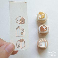 Little Home Stamp Set of 3 / Tiny house / Town / by Madinstudio