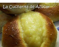 La cucharita de azúcar: Panes dulces rellenos con crema Relleno, Baked Potato, Hamburger, Potatoes, Bread, Elba, Baking, Ethnic Recipes, Spoons