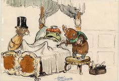 "Sketch for Disney's ""Wind in the Willows"" by story artist Homer Brightman."
