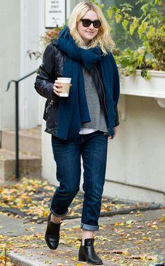 Dakota Fanning wearing Line Knitwear Principle Sweater in Limestone Etoile Isabel Marant Kady Jacket Current/Elliott The fling Jeans