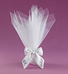 White Tulle, White Ribbon, Wedding Favors, Wedding Gifts, Baptism Favors, Handmade Jewelry, Monogram, Bows, This Or That Questions
