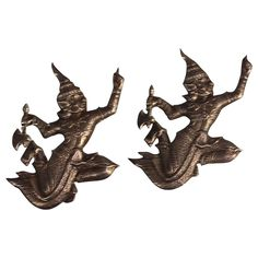 Pair of Sterling Silver Siamese Deities Dancers Brooches