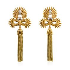 pair of Retro earrings comprised of rose gold and diamond trefoil surmounts suspending green gold foxtail chain tassels, in 18k and platinum. Atw 0.20 cts. Circa 1945