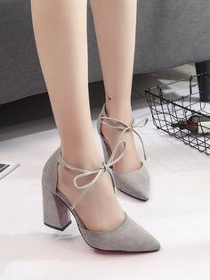 Point Toe Chunky Heels -Suede Point Toe Chunky Heels - Summer Women Shoes Pointed Toe Pumps Shoes High Heels Boat Shoes Wedding Shoes Side Straps A cute pair of pink heels Ankle Strap Heels, Ankle Straps, Wrap Heels, Pretty Shoes, Cute Shoes, Shoe Boots, Shoes Heels, Boat Shoes, Suede Heels