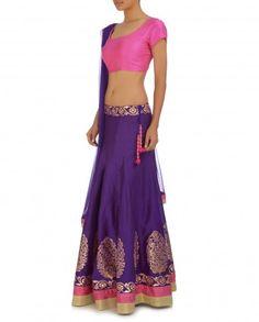 Regal Purple Lengha Set with Bubblegum Pink Blouse - Lenghas - Apparel