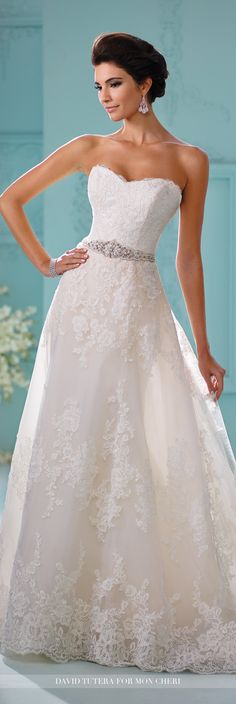 David Tutera for Mon Cheri Fall 2016 Collection - Style No. 216259 Skylar - strapless sheath lace wedding dress with detachable A-line overskirt