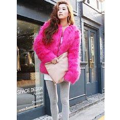 Μακρυμάνικο χωρίς κολάρο Faux Fur Κόμμα / Casual Coat (Περισσότερα χρώματα) – EUR € 43.90