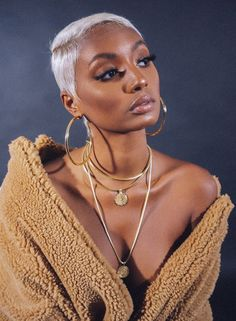 """Pictured with The Nomad Necklace and Venus Necklace. 18K GOLD PLATED High polish Lightweight and hollow 3"""" x 4mm Restock on 12/1 Natural Hair Short Cuts, Short Sassy Hair, Short Hair Cuts, Natural Hair Styles, Rihanna Short Hair, Short Pixie, Blonde Pixie, Short Blonde, Blonde Twa"""