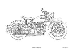 INDIAN SCOUT 1949 Original Handmade Drawing Print by drawspots, $42.00