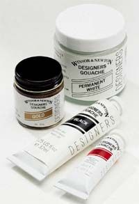W & N Designers' Gouache colours are a range of 84 brilliant opaque watercolours used by designers, visualisers and illustrators. Gouache is also used by fine artists as an opaque watercolour in combination with Artists' Watercolour paints. Winsor & Newton Designers Gouache is accepted today as the finest quality range available. Unsurpassed covering power, pure pigments , matt finish. use with brush, airbrush and ruling pen on most types of paper and board.   Save over 33% = 1/3 Off