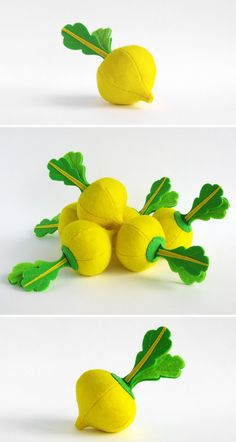 Felt play food Turnip Yellow Golden 1 pc Realistic Toy by MyFruit $6