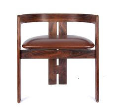 Tobia Scarpa; Rosewood and Leather 'Pigreco' Armchair for Santabona, c1958.