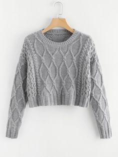 18 Mixed Knit Solid Crop Jumper -SheIn(Sheinside) Cardigan Sweaters For  Women 285b76ba8