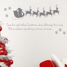 Twas the Night Before Christmas Wall Sticker. Perfect for any little ones room! Choice of colours & Free UK Delivery!