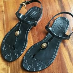 Coach | black jelly sandals Super cute jelly black sandals with gold details. Thanks for visit my closet.    ?Condition: Good normal sign of use in soles    ?No trades    ?Ask any question :) Coach Shoes Sandals