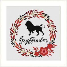 Gryffindor Floral Potter Cross stitch pattern | Craftsy