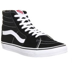 Vans Sk8 Hi ($85) ❤ liked on Polyvore featuring shoes, sneakers, black white canvas, hers trainers, trainers, skate shoes, leather skate shoes, vans shoes, leather sneakers and waffle shoes