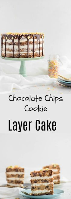 Layered Cookie Cake is the perfect sweet solution for when you can't enough chocolate chip cookies or can't decide which dessert to have.