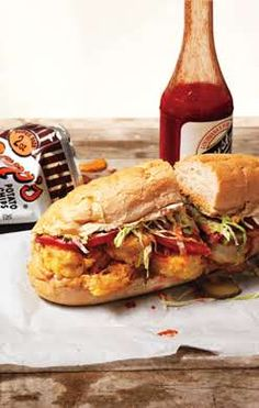 Fried shrimp po' boy. http://www.epicurious.com/recipes/food/views/Shrimp-PoBoy-365820