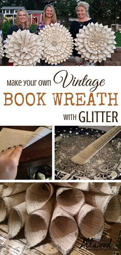 How to make Vintage Book Wreath by the Magic Brush Inc. Upcycle some old books into fabulous a Vintage Book Wreath with glitter. This DIY home decor project makes an awesome girls craft night party. Girls Night Crafts, Craft Night, Crafts For Girls, Fun Crafts, Arts And Crafts, Crafts For The Home, Diy Crafts Home, Music Crafts, Decor Crafts