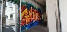 Österreich-Stadtgallerie Klagenfurt-Theatergasse Theater, Klagenfurt, Murals, Travelling, Street Art, Fair Grounds, Fun, Theatres, Wall Paintings