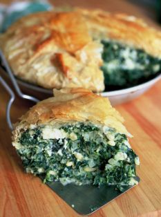 Barefoot Contessa - Recipes - Spinach Pie-This was yummy! I subbed regular double pie crust in place of phyllo dough-