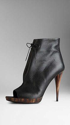 Deerskin Peep-Toe Ankle Boots | love the black one too | Burberry