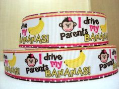 I drive my parents bananas monkey 5 Yards Grosgrain Printed Grosgrain Hairbow Ribbon