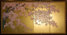 oriental tree on gold background painting | ... japanese arts byobu japanese screens item number 4218 item closed