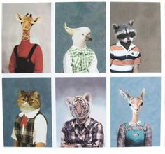 animal heads on human bodies hipster - Google Search