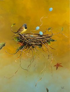 """This is a wonderful new painting we just received in the gallery by artist Jeff Faust titled """"A Poem of Loss"""" Colorful Paintings, Visionary Art, Whimsical Art, Surreal Art, Bird Art, Beautiful Artwork, Pet Birds, New Art, Surrealism"""