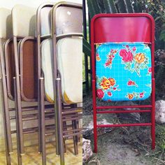 Foldable chairs made cute upholstered with picnic tablecloth and spray paint