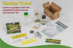 Go from being an absolute garden beginner to having a green thumb with Garden Tutor! This is a unique, online course and kit that delivers a crash course in gardening basics.Teaches how to design, install, and maintain the garden of their dreams. Garden Tutor provides everything a beginner needs including the critically acclaimed Garden Tutor course, handy reference guide, soil pH test kit, compass, garden measuring tape, soil testing jar, essential drafting, and design tools, and much more. Course Offering, Organic Gardening Tips, Types Of Soil, Gardening For Beginners, New Tricks, Starter Kit, Tool Design, Online Courses, Teaching